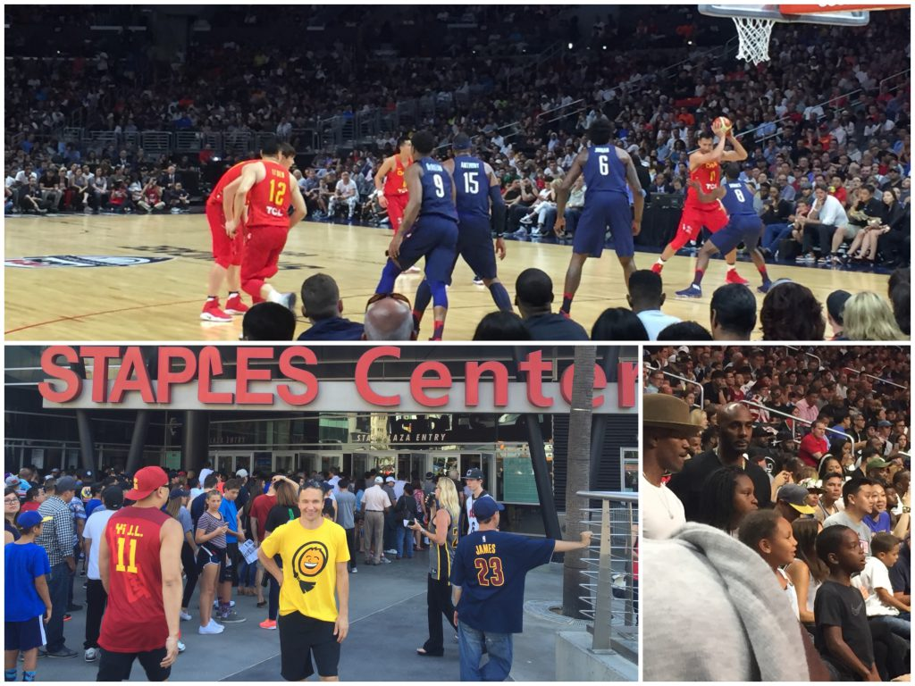 Oppe: USA vs Kina, venstre: Eckhoff utenfor Staples Center, høyre: Jamie Foxx med barn