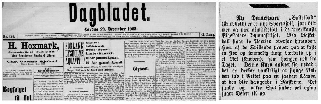 """Dagbladet omtaler den nye """"damesporten"""" i 1905."""